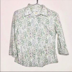 Talbots Stretchy Botanical Button Down Career Top